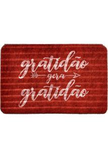 Capacho Carpet Gratidão Gera Gratidão Vermelho Único Love Decor