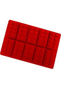 Forma Silicone Para Chocolate, Gelatina, Gelo - Bloco De Montar - Vermelho - Dafiti
