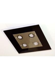 Plafon Quadrado Para 4 Lâmpadas E27 Branco Transparente Pantoja