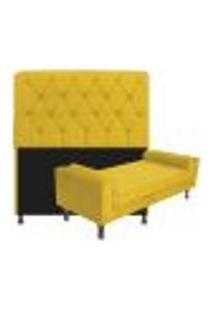 Kit Cabeceira Lady E Recamier Félix 160 Cm Queen Size Suede Amarelo - Amarena Móveis