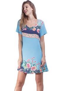 Vestido Amazonia Vital Curto Acinturado Floral Feminino - Feminino-Azul Turquesa