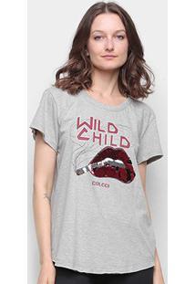 Camiseta Colcci Wild Child Bordado Paetê Feminina - Feminino-Mescla