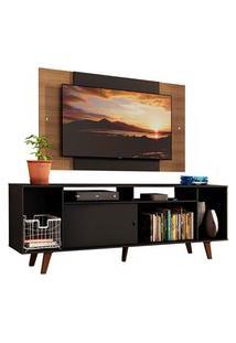 Rack Madesa Cancun E Painel Para Tv Até 58 Polegadas Com Pés - Preto/Rustic 8Nc1 Preto