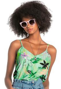 Blusa Verde Ampla Tropical