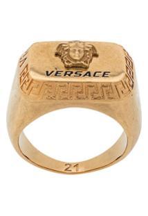 Versace Anel Retangular Com Logo - Dourado
