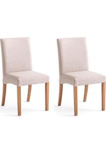 Conjunto Com 2 Cadeiras De Jantar Margaret Creme E Castanho