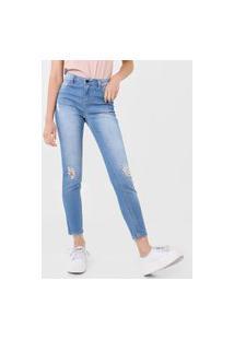 Calça Cropped Jeans Hering Skinny Destroyed Azul