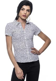 Camisa Intens Manga Curta Estampada Branca