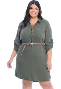 Vestido Chemise Plus Size Cambos Verde Militar