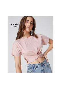 Amaro Feminino Blusa Malha Manga Curta Torcida, Rosa Claro