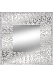 Espelho Emoldurado- Espelhado & Branco- 35X35X1Cm
