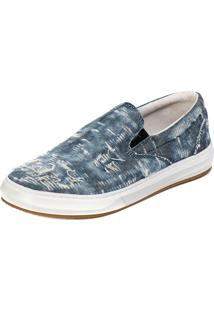 Sapatênis Slip On Lona Lucas Lunny - Azul Destroyed