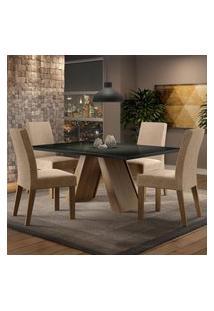 Sala De Jantar Madesa Dandara Mesa Tampo De Vidro Com 4 Cadeiras - Rustic/Preto/Imperial Marrom