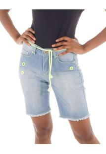 Bermuda Jeans Com Ilhós E Cordão Neon Verde