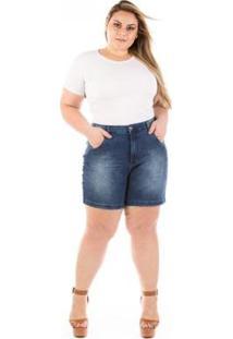 Shorts Jeans Médio Com Elastano Winter Plus Size Feminino - Feminino-Azul