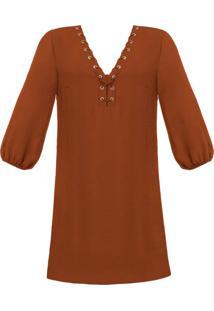 Vestido Amplo Decote Com Ilhós Marrom Biscuit - Lez A Lez