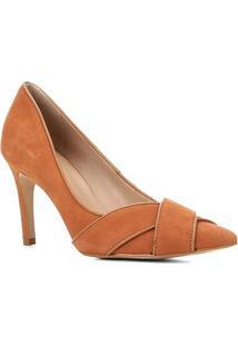 Scarpin Couro Shoestock Nobuck Salto Alto Tiras Cruzadas - Feminino-Caramelo