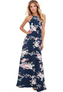 60e825423 ... Vestido Longo Floral Acinturado