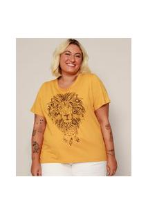 Camiseta Feminina Plus Size Leão Manga Curta Mostarda
