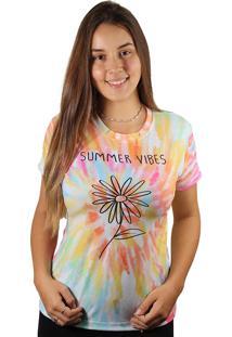 Camiseta Baby Look Summer Vibes Tie Dye Md32