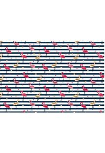 Tapete Flamingos- Branco & Preto- 60X40Cm- Tapettapetes Junior