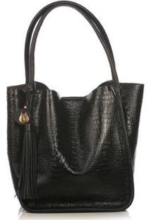 Bolsa Couro Blue Bags Sacola Croco Feminina - Feminino-Preto