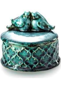 Porta-Joia Coliseu De Cerâmica Azul Bird – 13 X 11 Cm