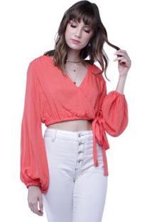 Blusa Cropped Decote Transpassado Pop Me Feminina - Feminino-Coral