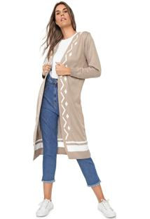 Maxi Cardigan Mercatto Tricot Padronagens Bege/Branco - Kanui