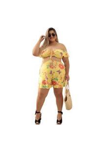 Macaquinho Feminino Plus Size Ciganinha Verão Floral Dona Bordô - Amarelo