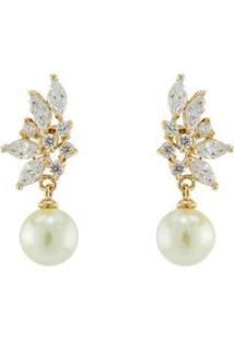 Brinco Barbara Strauss Véria Em Pérola Lalique E Zircônia Revestido Em Ouro 18K - Feminino-Branco