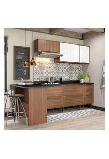 Cozinha Modulada Multimóveis 5455 Calábria 6 Peças Nogueira/Branco