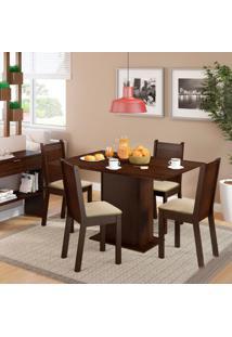 Conjunto De Mesa De Jantar Com 4 Cadeiras Lexy Linho Tabaco E Pérola