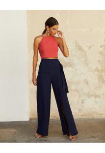 Calça Pantalona Com Amarração Lateral