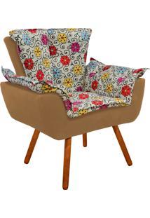 Poltrona Decorativa Opala Suede Composê Estampado Floral Color D17 E Suede Caramelo Sisal - D'Rossi