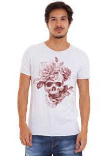 Camiseta Joss Corte A Fio Branca Caveira Flores Rosa