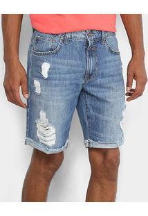 Bermuda Jeans Colcci Estonada Davi Masculina - Masculino-Azul