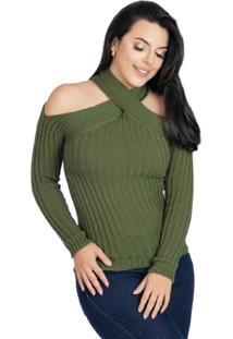 Blusa Tricot Frio Trançada Feminina Verde Tam.Único - Kanui
