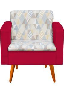 Poltrona Decorativa Emília Linho A17 Com Suede Vermelho - D'Rossi