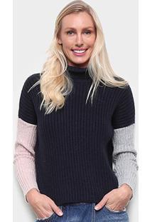 Blusa Tricô Calvin Klein Lisa Tricolor Feminina - Feminino-Marinho