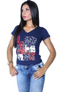 Camiseta Heide Ribeiro Estampada Love Marinho