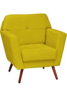Poltrona Decorativa Esmeralda Suede Amarelo Pés Palito Condor Drossi