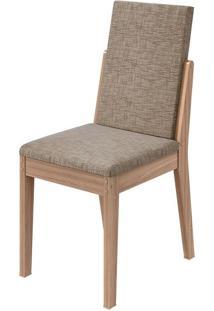 Cadeira Lira Velvet Riscado Bege Carvalho Naturale