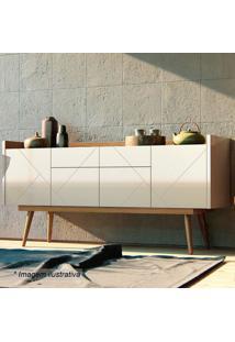 Buffet Veneza- Off White & Noce- 78X160X45,5Cm- Casa D