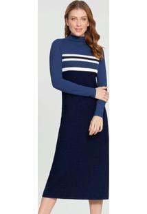 Vestido Malha Canelado Azul