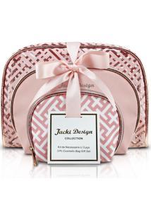 Kit De Necessaire Com 3 Peças Jacki Design Diamantes Rosa