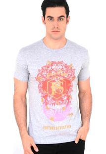 Camiseta Fortune 17 Degrade Skull Cinza