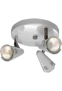 Spot Base Lince Aço Regulável Base Mr16 3 Lâmpadas Max 50W Branco