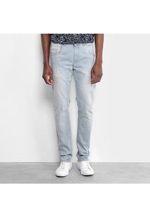 Calça Jeans Slim Zamany Estonada Delavê Masculina - Masculino-Azul Claro