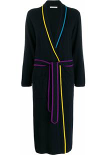 Chinti And Parker Longline Stripe Trim Cardigan - Azul